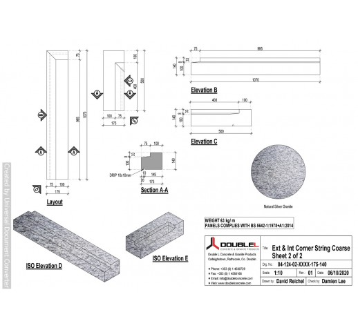 Silver Granite Corner String-L