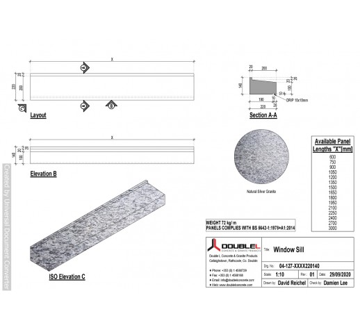 Silver Granite Sills - 220x140